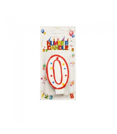 Candle - Number Red Border Colouful Dots