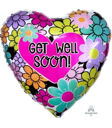 "33700 Graphic Floral Get Well Soon (18"")"