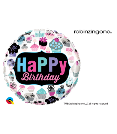 "78669 - Birthday Cupcakes Emblem (18"")"