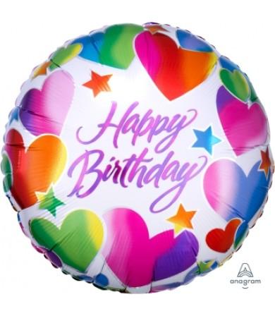 """A20053 Sparkle Hearts Happy Birthday (18"""")"""