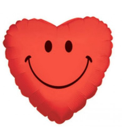 """11744 Smiley Heart - Red (4"""")"""