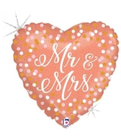 "36714P Rose Gold Mr. & Mrs. (18"")"