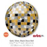 """40110 Orbz® Gold, Silver, Black Disco Ball (16"""")"""