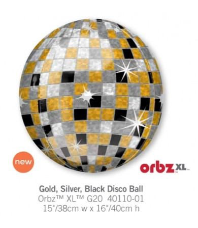 "40110 Orbz® Gold, Silver, Black Disco Ball (16"")"