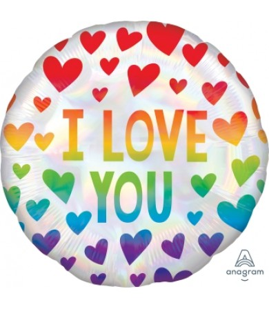 "40488 Iridescent Rainbow Hearts (18"")"