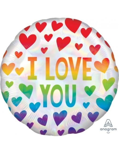 "40488 Iridescent Rainbow Hearts (18"")"