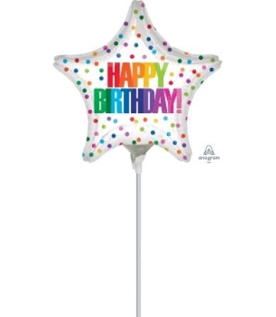 """41314 Happy Birthday Color Dots (9"""")"""