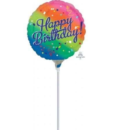 """41324 Happy Birthday Fancy Type Rainbow (9"""")"""