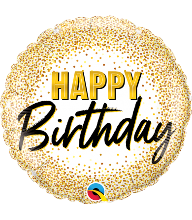 "88019 - Birthday Gold Glitter Dots (18"")"