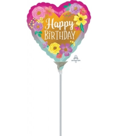 "41323 Happy Birthday Painted Flowers (9"")"