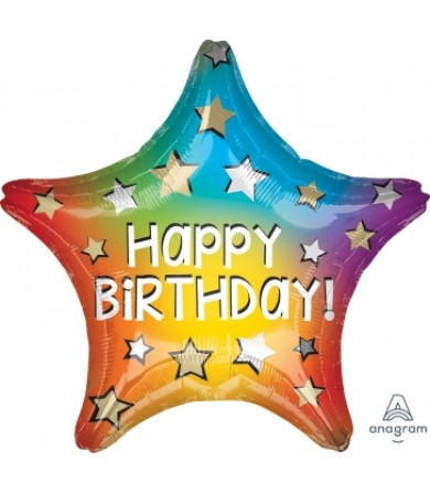 "41316 Happy Birthday Rainbow Star (18"")"