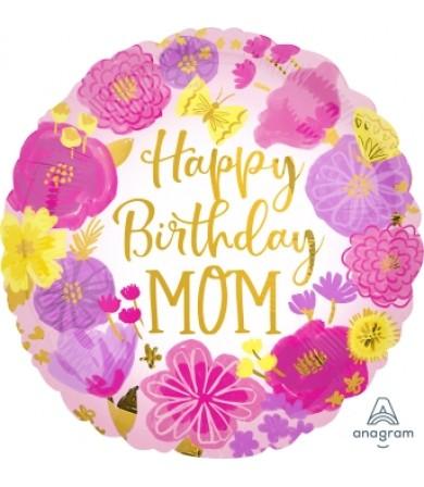 "41279 Happy Birthday Mom Painted Flowers (18"")"
