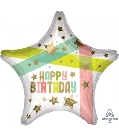 """41315 Happy Birthday Gold Stars and Colors (18"""")"""