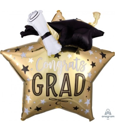 39338 Grad Star, Cap & Diploma - Multi Balloon