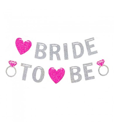 Letter Banner - Bride to be  Silver with Fuchsia Heart