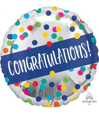 "41142 Congratulations Silver Dots (18"")"