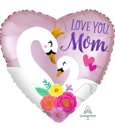 "40842 Satin Infused Love You Mom Swans (18"")"