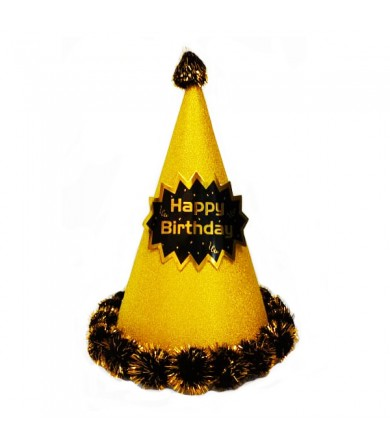 Party Hat - 24.5cm Pom Pom HB Glittery