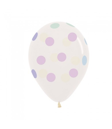 "Sempertex 12"" Crystal Clear 390 - AO Polka Dots Pastel"