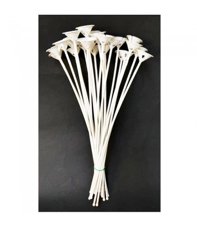 Balloon Stick & Cup 36.5cm - Attached - White - 50