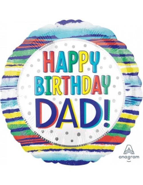"41278 Happy Birthday Dad Painted Stripes (18"")"