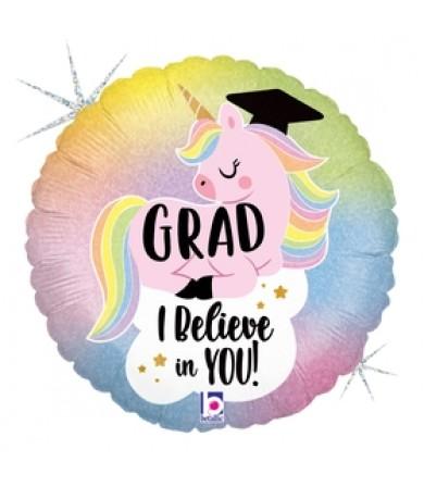 "36952P Glitter Pastel Unicorn Grad (18"")"