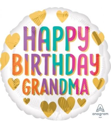 """41274 Happy Birthday Grandma Gold Hearts (18"""")"""