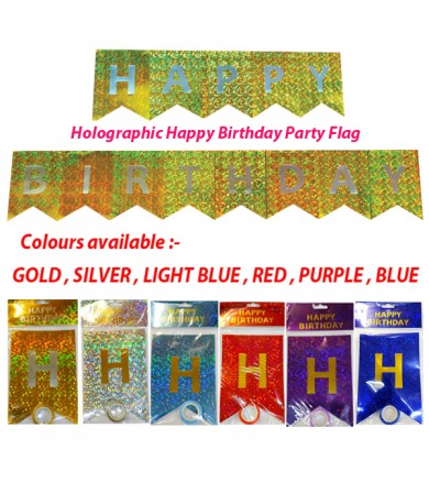Party Flag - Holographic Happy Birthday