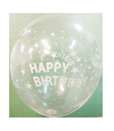 "Sempertex 12"" Crystal Clear 4 sides Happy Birthday Stars"