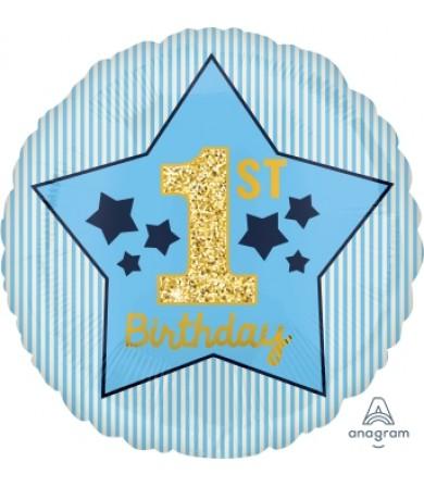 "40370 Boy 1st Birthday Blue & Gold (18"")"