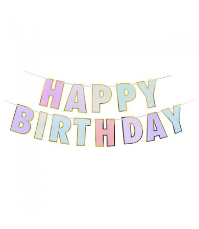 Letter Banner - Happy Birthday Colourful Gold Border