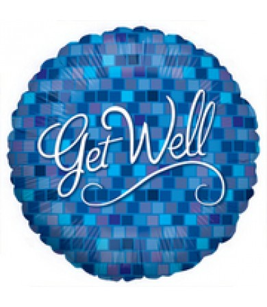 "86040P Get Well Blue Squares (18"")"