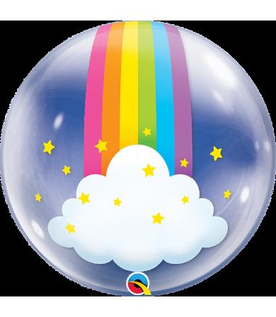 "Q13036 Rainbow Clouds [Bubbles Balloon] (24"")"