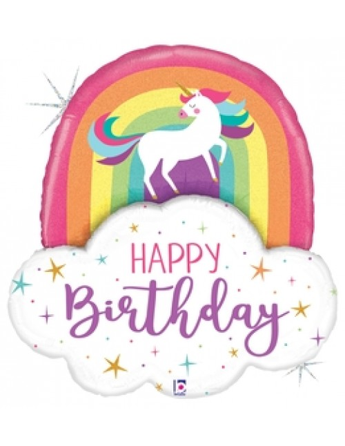 "35970P  - Unicorn Rainbow Birthday (35"")"