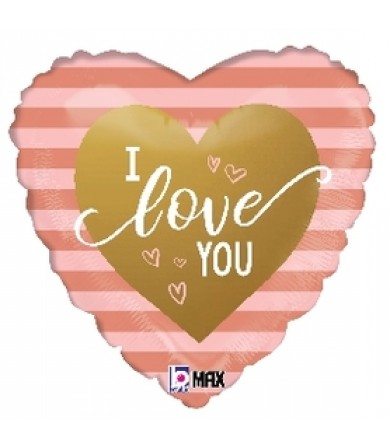 "26071P Rose Gold Stripes I Love You (18"")"