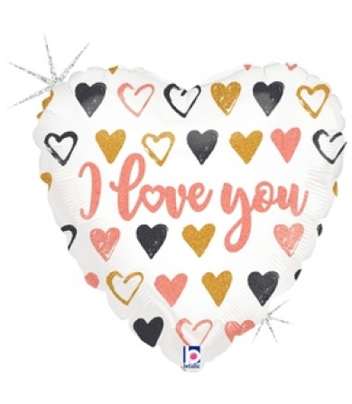 "36754P Rose Gold Hearts I Love You (18"")"
