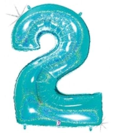 """15842REB - Number 2 Glitter Robin's Egg Blue (40"""")"""