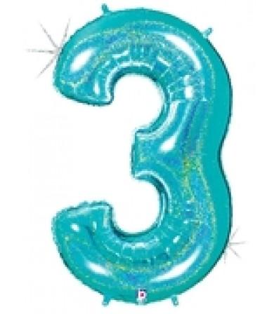 """15843REB - Number 3 Glitter Robin's Egg Blue (40"""")"""