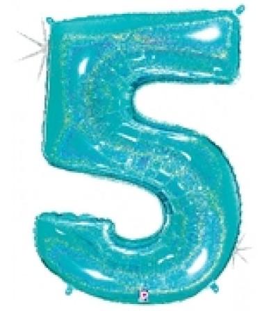 """15845REB - Number 5 Glitter Robin's Egg Blue (40"""")"""