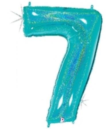 """15847REB - Number 7 Glitter Robin's Egg Blue (40"""")"""