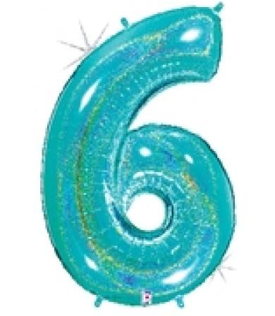 """15846REB - Number 6 Glitter Robin's Egg Blue (40"""")"""