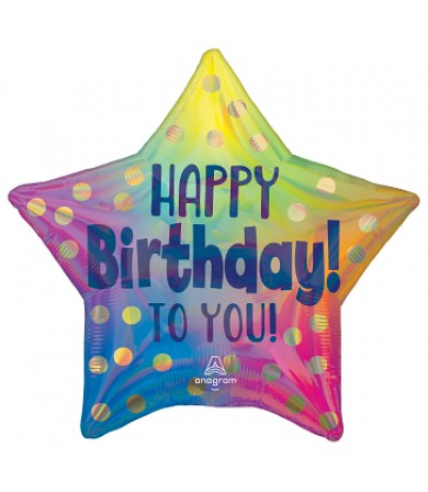 """43115 Happy Birthday to You Gold Dots (18"""")"""