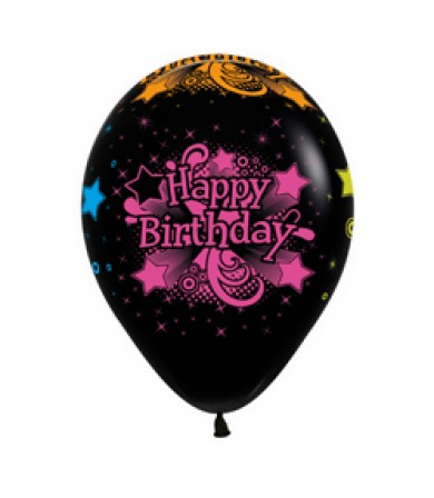 "Sempertex 12"" Fashion Solid Black 080 - AO Happy B'day Neon"