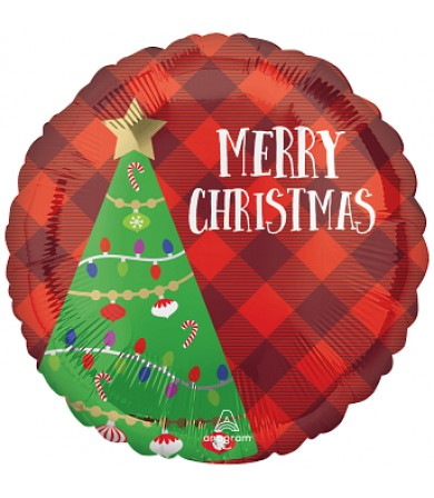 """43349 Festive Christmas Tree Plaid - (18"""")"""
