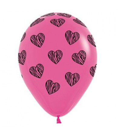 "Sempertex 12"" Fashion Solid Fuchsia 012 - AO Zebra Hearts"