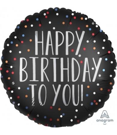 "39062 Happy Birthday to You Satin Dots (18"")"