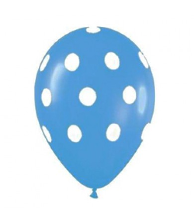 "Sempertex 12"" Fashion Solid Blue 040 - AO White Polka Dots"