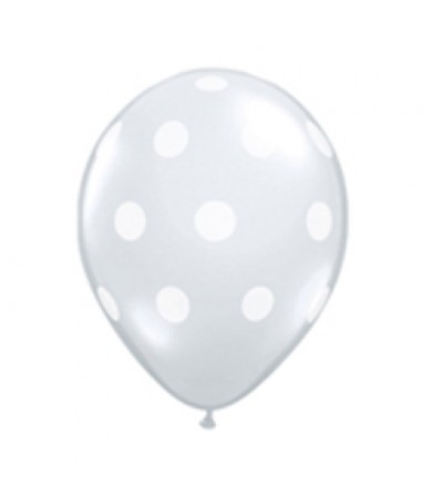 "Sempertex 12"" Crystal Clear 390 - AO White Polka Dots"