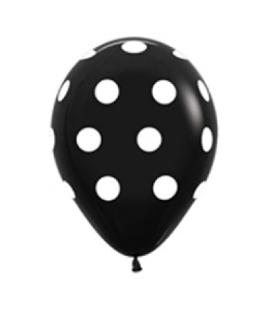 "Sempertex 12"" Fashion Solid Black 080 - AO White Polka Dots"