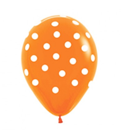 "Sempertex 12"" Fashion Solid Orange 061 - AO White Polka Dots"
